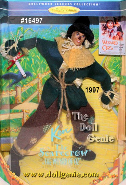 Hollywood Legends Limited Edition - Say hello to Ken doll as The Scarecrow from one of the most beloved movies of all time. His outfit is an authentic reproduction of the costume seen in the classic film. Hes adorable dressed in a green jacket and brown pants. Rope is tied at his waist and around his neck and sleeves. Hand sewn patches complete the quality detailing on his pants. His body is fully poseable, so he can be posed in lots of floppy ways!