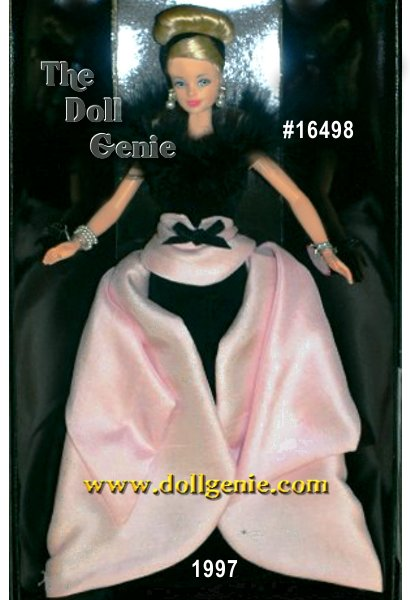 The charter doll in the Members Choice Collection for The Official Barbie Collectors Club members. Grand Premiere Barbie doll is a vision of pink splendor in this fabulous ensemble. Sophisticated and elegant, Barbie doll wears a long velvety black gown with a pink wrap-around train. Black marabou feathers accent the collar. Tiny faux pearls adorn Barbie dolls earrings, and two-strand bracelet. To complement this incredible ensemble, Barbie wears her long blond hair in a stylish updo, accented with a black hair band.