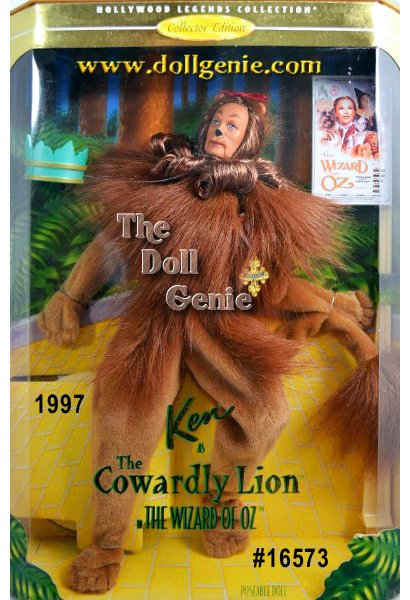 Hollywood Legends Limited Edition - Coming to you directly from the forest in the land of Oz is Ken doll as the Cowardly Lion. He is wearing a fleecy lion suit and his body is fully poseable. You can even make him hold his tail when he is afraid, just as he does in the movie. He comes with a crown and a badge of courage. Ken as the Cowardly Lion will surely bring back wonderful memories of this very special character.