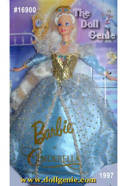 From the classic childrens fairy tale, comes Barbie doll as Cinderella. She is the third doll in the Childrens Collector Series. Her beautiful gown captures the magic of Cinderella at the ball wearing a starlight blue gown with shimmering golden bodice. Barbie truly is a beautiful and delicate fairy tale princess. The gowns skirt is two layers, with blue satin underneath and a white tulle overskirt with golden highlights. Barbie has extra-long golden hair adorned with a lovely crown. Her accessories also include a choker, earrings, golden ring and of course, glass slippers.