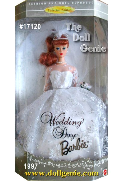 A truly lovely vinyl reproduction of a nostalgic Barbie doll wearing the Wedding Day fashion from the 1960s. Barbie dolls gown is exquisitely created with white flocked tulle and a sprinkling of glitter over a satin lining. The bodice has a sweetheart neckline with white netting, the skirt is full. Her accessories include something old - her mothers pearl necklace, something new - white heels, something borrowed - white gloves and rnsomething blue - her garter. Her bouquet is delicately fashioned of fabric flowers.