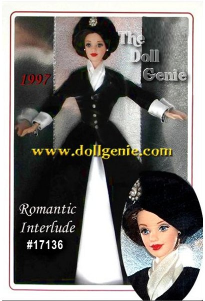 A portrait in elegance, this 1997 Classique Collection Barbie doll features a striking combination of black and white in a timeless silhouette. Created by designer Ann Driskill, Romantic Interlude Barbie makes a strong statement in a long, black velvety coat that opens to reveal an off-white satin underskirt. Rhinestone buttons highlight the bodice and hat with a simple spray of black and white feathers completing one of the most elegant Barbie ensembles ever. Underneath her skirt, she wears black boots to complete the outfit. Her hair is flatteringly bobbed at her chin and she has rooted eyelashes. Caucasian Version