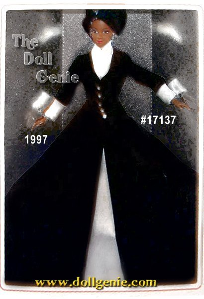 A portrait in elegance, this 1997 Classique Collection Barbie doll features a striking combination of black and white in a timeless silhouette. Created by designer Ann Driskill, Romantic Interlude Barbie makes a strong statement in a long, black velvety coat that opens to reveal an off-white satin underskirt. Rhinestone buttons highlight the bodice and hat with a simple spray of black and white feathers completing one of the most elegant Barbie ensembles ever. Underneath her skirt, she wears black boots to complete the outfit. Her hair is flatteringly bobbed at her chin and she has rooted eyelashes. African American Version