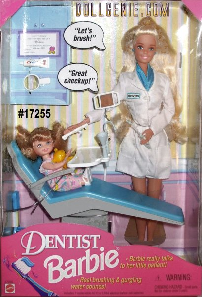 1997 Collectible Dentist Barbie. She has Never Been Removed from Box. Blonde Hair Blued Eyed Barbie is wearing a Blue Outfit, Blue Earring & White Lab Coat. Kelly has Light Brown Hair, Blue Eyes and is wearing a fun floral print outfit and is holding her precious Yellow Teddy Bear. Dentist Barbie really Talks to her Patient and has real Brushing and Gurgling sounds. Also included are Toothbrush, Toothpaste, Mirror, Dental Light, Polisher, Water Spritzer, Rinse Cup, Bib, Face Mask, Dental Charts and Great Check Up Stickers.