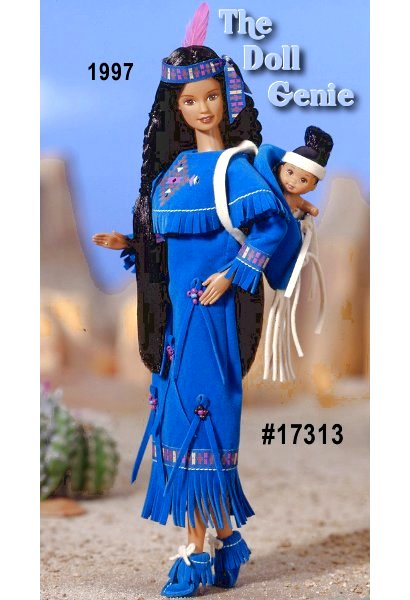 Join American Indian Barbie doll and her baby sister as they bring history to life! Barbie looks beautiful in her turquoise-colored dress with matching moccasins. Her baby sister comes with her own carrier so Barbie can take her on a picnic. The accompanying storybook tells a tale of the gifts that animals have given their tribe, helping them to better live in their environment.