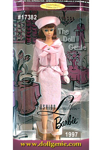 Behold a vision in pink as Barbie doll takes to the tea room in the only vinyl reproduction of Barbie in a popular 1966-67 vintage fashion - Fashion Luncheon. From her smart pink ensemble, complete with dress and matching jacket, to her subtle accessories pink hat, long white tricot gloves and pale pink shoes, Barbie looks and feels her elegant best. This is a must for all nostalgic Barbie collectors.