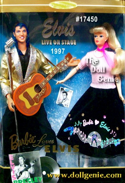 Collector Edition - Here is a very special giftset that includes Elvis and his favorite fan, Barbie! Barbie doll is dressed as an adoring fan of Elvis during the rn1950s. Shes attending a live rock concert and hopes to receive an rnautograph from the King of Rock n Roll. She even holds a picture of rnElvis! Produced with the retrospective look of the earliest Barbie dolls, our gal looks fabulous in her 1950s inspired fashion. Her ensemble includes a pink sweater, pink scarf, black skirt decorated with Elvis memorabilia, white socks and saddle shoes. Elvis looks like he is ready to rock in his famous gold lame jacket over a black shirt and pants. His special face sculpting has been designed to capture the image of The King of Rock n Roll, while his hairstyle conjures images of Elvis in his heyday. He even comes with a guitar and microphone to complete his look.