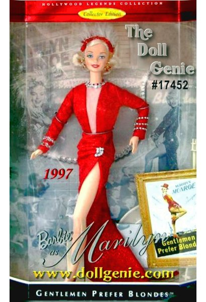 Hollywood Legends Collector Edition - Daring style and excitement from Barbie doll as she recreates Marilyn Monroes role of Lorelei Lee in the popular musical Gentlemen Prefer Blondes. Barbie is dazzling in her glittery red gown with its daring v-neck and high slit. Sparkling accessories include rhinestone bracelets, necklace and earrings with a glittery red hat topped with feather plumes. Marilyn and Barbie collectors alike will treasure this beautiful recreation with its authentic look and feel.