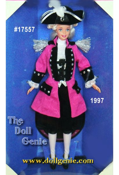 Limited Edition - Hail to the chief! Barbie doll as George Washington salutes our countrys founding father, as the second doll in FAO Schwarz glorious American Beauties Collection. Designed by Mattels Ann Driskill, our historic Barbie doll handsomely honors our first President resplendent in a detailed coat and vest, ruffled jabot, plumed hat and powder white hair. A most revolutionary Barbie patriotically personifying the style and spirit of America the beautiful!
