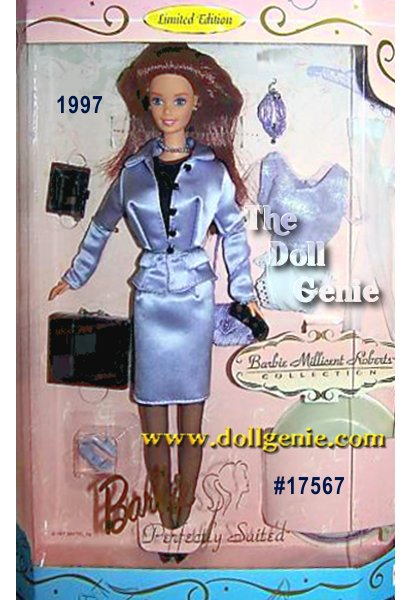 Barbie doll wears a lavender satin skirt, jacket, knit blouse, pantyhose, pumps and jewelry. Her ensemble is completed with a black briefcase, organizer and cellular phone. Dress her up for the evening with an iridescent top, quilted purse, sheer stockings, pumps and beaded necklace. Two incredible looks with incredibly high quality details.