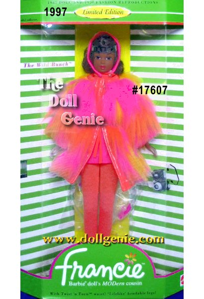 Second in the series of authentic reproductions of Francie, Barbie dolls Modern cousin! The Wild Bunch recaptures the magic of one of the coolest vintage fashions of all time. This 1970-71 fashion features a synthetic fur coat trimmed in orange vinyl, and an orange and fuchsia knit dress on the first African-American Barbie reproduction ever made. This doll is truly a must-have for all avid Francie collectors.
