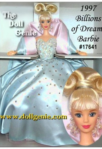 A very exclusive limited edition Barbie doll designed to celebrate the billions of dreams Barbie has inspired! This stunning doll features a beautiful gown in icy blue satin and sparkling with jewels. Under her full skirt and train is a full petticoat of palest pink tulle. Her accessories include satin panties, satin shawl, quilted purse, blue spike heel pumps and crystal drop earrings. Her platinum blonde hair is upswept in a glamorous hair style accented with light bangs. $329.95