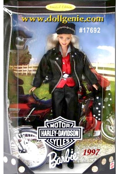 Barbie doll and Harley-Davidson. Who would have guessed theyd make a perfect match? She is a vision of black faux leather, blonde hair and silver studs, Harley-Davidson Barbie doll represents todays free-spirited woman. Her jacket and backpack proudly display the Harley-Davidson logo. She also has silver hoop earrings, black boots, sunglasses and helmet. Harley-Davidson motorcycles are famous for style, performance, and their distinctive sound, which makes Harley-Davidson the ultimate riding experience.
