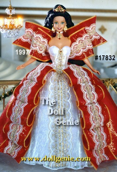 Barbie doll is a true image of royal splendor in holiday red, snowy white and glittering gold with a golden tiara adorned with six ruby-colored gemstones. Festive accents rninclude a jeweled choker and earrings. Brunette Version