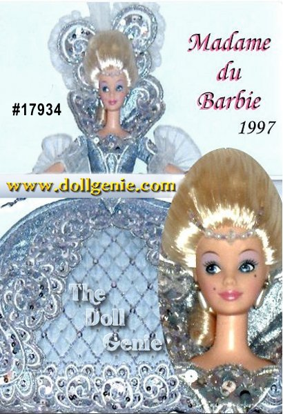 Madame du Barbie doll captures the majesty and opulent elegance of the eighteenth century royal court of France. Her gown is a breathtaking confection of ice blue brocade with bead and jewel-embellished rococo embroidery. The coiffure and headpiece are appropriate for the most elegant of royal occasions.