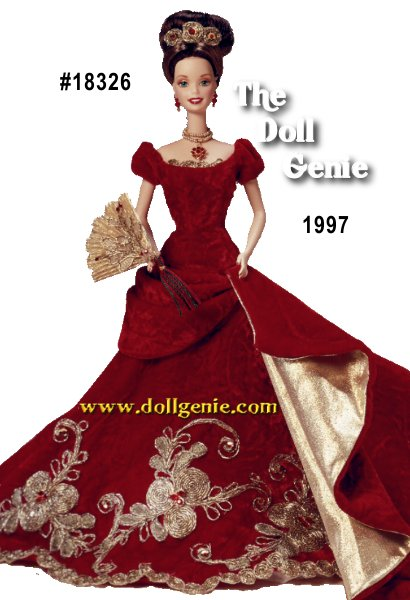 The past makes a beautiful present in this stunning tribute to an old-fashioned holiday celebration. Her elegant ball gown of crimson crushed velvet is delicately embroidered with a golden poinsettia motif. A golden fan, lace trimmed pantaloons and sparkling jewelry made of beautiful Swarovski crystals complete her holiday ensemble. From the Holiday Porcelain Barbie Collection, this numbered, Limited Edition doll made of fine, hand-painted porcelain bisque will be cherished for as long as the season is celebrated.