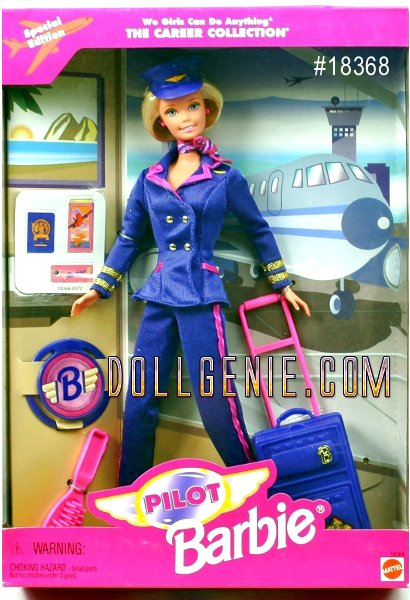 Special Edition 1997 Pilot Barbie. Want to be an airline pilot? rnStudy hard and graduate from college!  Fly at least 35 hours! rnLearn everything about how a plane works!  Pass tests writing and talking about planes! Prove you can fly alone, at night, across the country and using only the instrument dials in the plane! Be at least 21 years old! Barbie Can Do Anything!