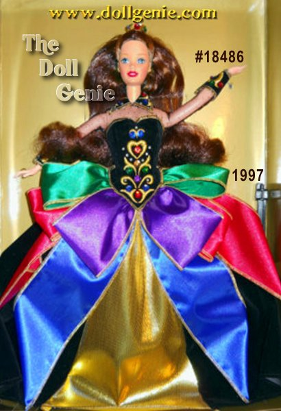 This is the BRUNETTE VERSION which was made exclusively for the 1997 Walt Disney Doll & Teddy Bear Convention - Limited to only 1600 pieces - The fifth and final doll in a beautiful collection of Winter Princess Barbie dolls, Midnight Princess rnBarbie is a study in black with dramatic jewel-tone accents. With her flocked black dress and golden trim, she looks her brilliant best. Her brown hair is worn loose, in curls around her face and shoulders, with small sections loosely knotted at the back. Her sleeves and neck are covered with sheer black tulle and her full skirt is accented by wide colorful ribbons.