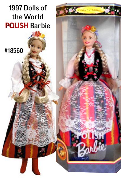 From a beautiful land of many forests and rivers comes Barbie Doll Barbie doll. She's ready to dance a polka in her traditional folk costume. Although each region of the country has its own style, almost all feature a decorated vest like this one, with a striped skirt and lacy apron. Barbie doll's blonde hair is worn in two thick braids and is adorned with a crown of flowers and colorful ribbon.