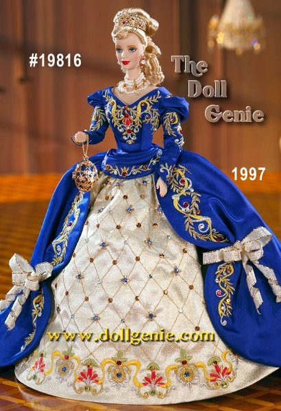 The majesty. The grandeur. The extraordinary opulence. All reign supreme once more as the elegance of Faberge brilliantly shines in this magnificent Limited Edition doll. Handcrafted in fine porcelain bisque, Faberge Imperial Elegance Barbie doll wears a regal gown of rich blue satin with a golden lame underskirt. Both are lavishly embroidered with over 50,000 stitches and accented with over 175 hand-sewn gleaming Swarovski crystals. 22K gold-plated lattice work adorns her stunning, egg-shaped evening bag, which opens to reveal a miniature Swarovski crystal heart. Her elegant faux pearl choker, golden and crystal drop earrings and dazzling tiara covered in 22K gold-plate add to the splendor that makes this one of the most glorious Barbie dolls ever. Hand numbered in 22K gold and limited to a worldwide production of 15,000 units.