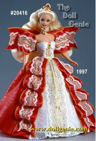 Barbie doll is a true image of royal splendor in holiday red, snowy white and glittering gold with a golden tiara adorned with six ruby-colored gemstones. Festive rnaccents include a jeweled choker and earrings. In 1997, the blond Happy Holidays Barbie doll was  exclusive to members of The Official Barbie Collectors Club.