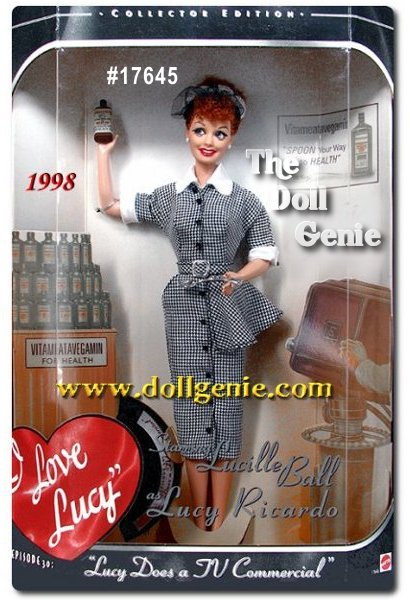 Here is the first collectible Lucy doll created by Mattel to authentically reproduce the famous episode where Lucy Does a TV Commercial. The dolls lifelike appearance and smiling face will evoke nostalgic memories of Lucys      hysterical performance attempting to sell Vitameatavegamin. Lucy is dressed in an amazingly accurate re-creation of the black and white houndstooth ensemble she wore to do her commercial and even holds a bottle of the powerful cure-all Vitameatavegamin and a spoon for tasting.