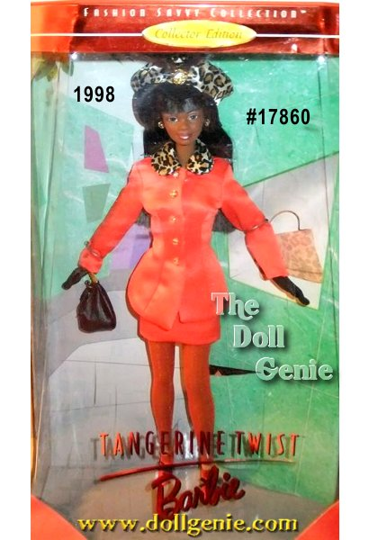 Shes smart. Shes classy. And just a little bit sassy. Shes todays African American woman - glamorous, exciting and confident. Tangerine Twist Barbie doll has style that does not stop and she is not afraid to show it - expressing herself with a personal touch that makes the difference. Here, with a satiny suit thats all shimmer and sparkle, she wears a stylish leopard print hat with feathers, leather gloves, handbag and shoes.
