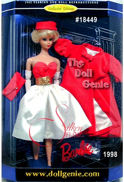 This Collector Edition doll reproduces two 1960s originals: Red Flare, which includes a coat, hat, handbag, gloves and shoes, and Silken Flame, that features a dress with belt. Together, they give Barbie a wonderful vintage look. A swirl of red over a shimmer of white, two favorite fashions take a combined approach to Barbie doll beauty. Dramatic and superbly sophisticated, Barbie doll steps out in an ensemble that is classic sixties. From the red velveteen pillbox hat and lined flared coat the velveteen strapless dress with white satin skirt, she is stunning in the silhouette that became the signature of a truly elegant era.