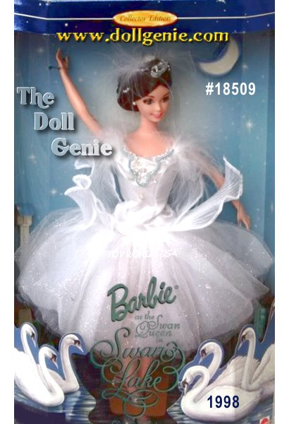 From an unforgettable ballet comes an unforgettable doll. Barbie as the Swan Queen in Swan Lake is a perfect addition to the Classic Ballet Series. She appears so delicate in a sparkling ballerina costume. Her bodice is decorated with fanciful trim and frilly feathers at the neckline. Her pleated skirt almost appears to be swan feathers with its layers of fabric. Her shimmering tights and ballet slippers authenticate her outfit which is wonderfully accented by a silvery tiara. Shes truly ready for the footlights.?