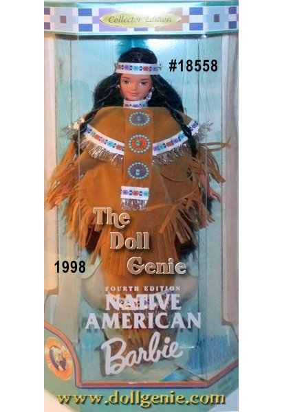Dressed in a festive outfit for ceremonial events, Native American Barbie doll looks authentic from head to toe. Shes wearing a buckskin fringed top with a matching skirt. Silvery braided trim highlights her outfit. Her l-colored feather. In keeping with Native American traditions, she has soft buckskin moccasins on her feet.