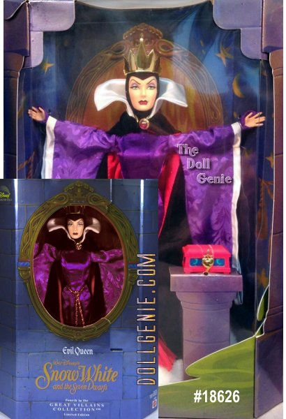 This vain villain casts a spell more stylish and sinister than ever as a Limited Edition Collector Doll. The Evil Queen Barbie is authentically and exquisitely clad for this amazing highly detailed reproduction from the film. Her Satin Gown and Velvet Cape with Faux Fur Trim flow like the evil from her soul. A Golden Crown tops her life-like face. She can even hold the box intended for Snow White's Heart! This Limited Edition Evil Queen is Fourth in a Series of Collector Dolls inspired by Great Disney Villains. Each doll from the Great Villains Collection is showcased in a gatefold box with surroundings that capture an unforgettable moment from the film. * Contents: * Doll Approx 12