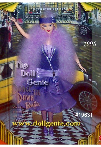 Barbie doll celebrates the excitement of the roaring twenties in this fun lavender Flapper dress. Dance til Dawn Barbie doll is the second doll in the Great Fashions of the 20th Century Collection. Typical of the fashions of the time, her dress features a ruffled bottom worn with a decorated hip sash. Barbie also wears a beaded necklace and earrings. Around her fashionably bobbed blonde hair, she wears a purple  headband with feather plumes. Her dress is further accented with a lovely feather boa.