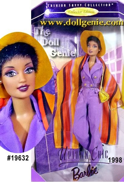 Second in the Fashion Savvy Collection, a series of dolls that highlights the unique style and sophistication of todays African-American woman, Barbie doll is ablaze with vibrant color in a purely contemporary fashion. Her ensemble features a purple jumpsuit with a boldly striped silk wrap. Her dramatic accessories include a yellow, wide-brimmed hat with black trim, yellow shoulder bag, sunglasses, black gloves and shoes and a cell phone. She wears her hair in fashionably short style, and has a fully poseable body. She is a perfect addition to this fun collection.