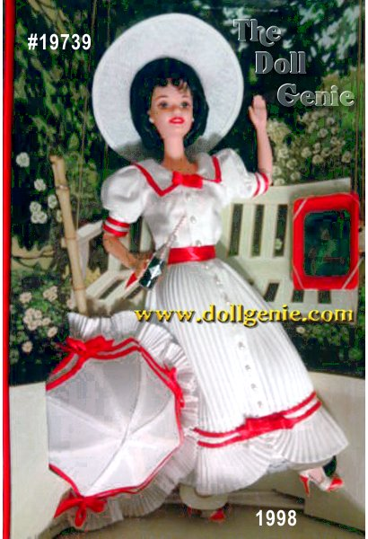 This delightful re-creation of a COCA-COLA Lady was taken from a 1913 COCA-COLA calendar. Summer Daydreams Barbie doll is charmingly nostalgic. Her cool, white dress rnis trimmed in red satin ribbon, and features crisp pleating and tiny pearly buttons. A white straw-cloth hat, trimmed with flowers and a red satin bow, helps complete her historic ensemble. She is the ideal COCA-COLA Lady, from her dainty parasol and lace-trimmed petticoat right down to her realistic T-strap shoes. Summer Daydreams Barbie even comes with an authentically re-created COKE bottle with a striped straw and a reproduction of a COCA-COLA serving tray from 1913. She brings the past to life and two of Americas most enduring collectibles together.