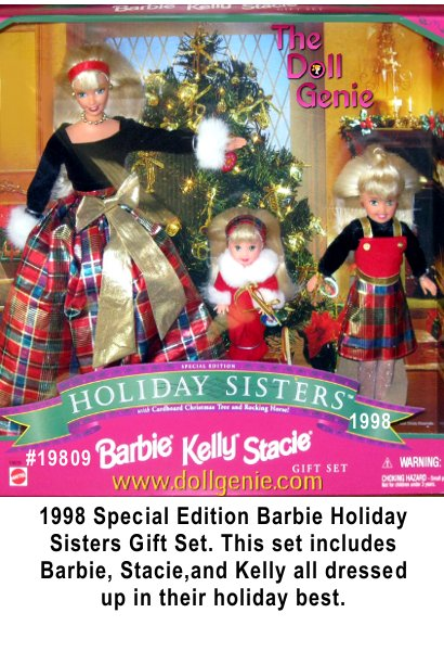 Christmas Holiday Barbie Stacie & baby Kelly wearing their gorgeous red velvety outfits & accented with white fuzzy edges - also the regular size barbie is wearing her snow boots & accented with fuzzy edge - each doll holds something extra special holiday surprise