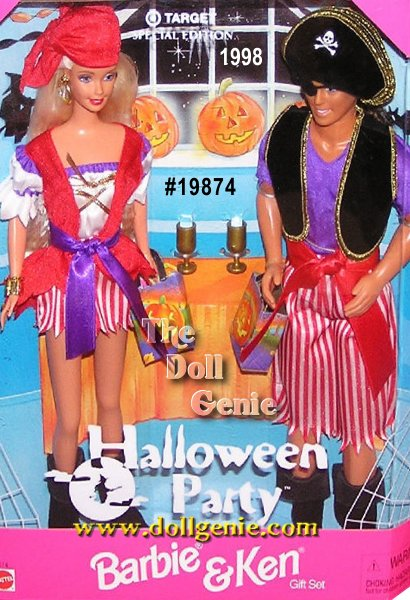 Barbie and Ken are dressed like pirates with all the right accessories and are ready to win first prize at their Halloween party.  This Special Edition set by Mattel was created in 1998 and only available at Target Stores.
