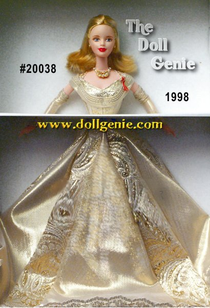 Golden Anniversary Barbie doll helps celebrate the 50th anniversary of Toys R Us. Wearing a breathtaking gown of golden brocade with a fitted bodice and flowing, pleated skirt, Barbie has never looked more elegant. Her dress is trimmed in golden and white lace, and has matching fitted sleeves. Her blond hair is styled in a long bob, and she wears a red AIDS ribbon attached to her bodice.