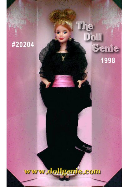 Presenting Definitely Diamonds, an absolutely exquisite Barbie doll wearing real diamond jewelry! Her fabulous necklace and earring set contains three diamonds surrounded by real 10 K gold. One diamond beams from her delicate necklace and two more sparkle on her ears. She wears a long, black, velvety gown accented at the waist by a soft pink cummerbund. A ruffled black stole surrounds her shoulders to complete her glamorous look.