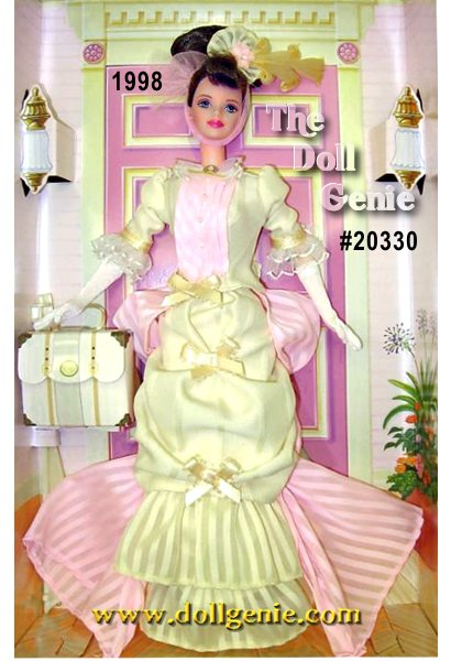 Say hello to Mrs. P.F.E. Albee Barbie doll, designed to honor the very first Avon Representative. Mrs. Persus Foster Eames Albee was a woman of considerable spirit and style. Mrs. Albee would set out, attired in an outfit very similar to the one that this doll is wearing now. Selling products door-to-door in Winchester, New Hampshire, she represented the California Perfume Company, which would later become Avon. She is wearing a beautiful yellow gown with white lacy trim on the sleeves and collar, and pink ruffled accents including a delicate train that cascades to the floor. Long white gloves, a cream-colored handbag, and a lovely yellow hat with a pink bow complete this charming ensemble.