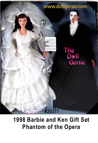Who better to portray the romance and drama of The Phantom of the Opera 1986 RUG LTD than Barbie and Ken dolls! The first dolls in an exciting new collection created exclusively for FAO Schwarz, Barbie and Ken dolls wear fashions that capture the essence and details of these dramatic costumes. Barbie doll as Christine wears a romantic white-on-white print bridal gown lavishly trimmed in lace. A sheer veil adorns her long, auburn hair. As The Phantom of the Opera, Ken doll is very dramatic in black evening clothes, opera cape and white half-mask.