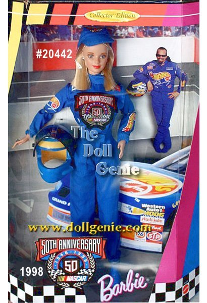 Collector Edition - Celebrate the 50th Anniversary of NASCAR with a fun new Barbie doll. In her authentic NASCAR racing uniform, Barbie looks like shes ready to race. Her accessories include a replica of a NASCAR racing helmet complete with sponsor logo and working visor, racing cap with NASCAR 50th logo, earrings, ring and shoes. She has long hair and wears racing red lipstick. NASCAR Barbie doll is the perfect combination of the ever-enduring appeal of Barbie and the excitement and drama of NASCAR Racing.
