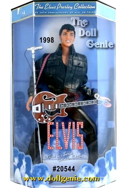 Mattel commemorates the 30th Anniversary of Elvis 1968 TV Special, one of the celebrated events in his legendary career. The raving response he received in this TV show firmly entrenched Elvis Presley as the King of Rock n Roll. The crowd roared and swooned as Elvis sang and danced in a black leather outfit that will live forever in the minds of everyone who saw him. Authentic in every detail, this doll recreates Elvis trademark sideburns and costume and comes complete with guitar. $89.95
