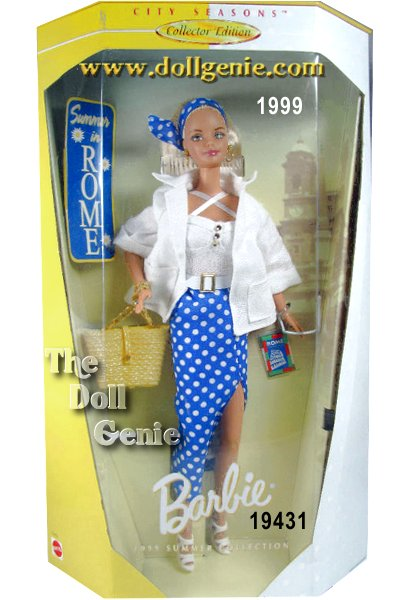 The fifth doll in this fun and fashionable series, Summer in Rome Barbie doll is ready for a day of sightseeing in a summery ensemble. She is the picture of comfort and rnstyle in her crisp linen-like jacket, halter top, and chiffon blue and white polka dot skirt. In her lovely blond hair, Barbie doll wears a matching blue and white polka dot scarf loosely tied as a headband. She is ready to go with rnher map of Rome tucked in her straw purse.