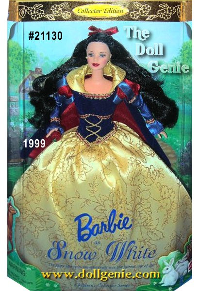 Barbie doll as Snow White, the fifth doll in the Childrens Collector Series, recalls the classic fairy tale about the fairest princess of them all. Barbie doll is enchanting in a pretty gown with puffed sleeves and a golden glitter-print skirt. The gown is made of a blue flocked corset-like bodice, which is accented by golden cord and red and golden braid. An attached royal blue short cape lined in red charmeuse completes her charming ensemble. Her jet-black hair is adorned with a lovely red ribbon. In her hand, she holds the famed red apple.