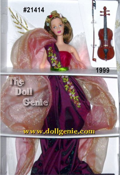 Second in the Angels of Music Collection comes Heartstring Angel Barbie doll, poised as if to play a violin to lift your heart and soul. Truly enchanting in her striking taffeta gown with a velvet bodice, she appears to glow amid a billowy cloud of pink and golden organza. Her soft-as-down marabou and feather angel wings are highlighted by golden accents and a sash of tiny embroidered pink rosettes and leaves falls gently over her shoulder. Celebrate the angelic beauty of music with Heartstring Angel Barbie doll!