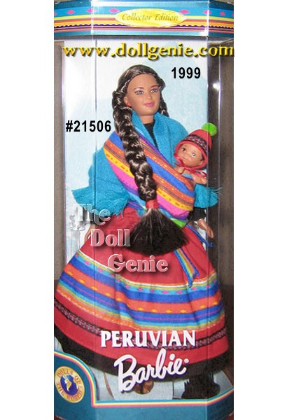 Peruvian Barbie doll represents one of the most beautiful and mysterious countries in South America. She wears an authentic Peruvian dress and shawl in vibrant multicolored fabric reflecting the excitement, passion and beauty of Peruvian culture. Accompanying Peruvian Barbie doll is an adorable baby dressed in a turquoise-colored diaper and a red hat.