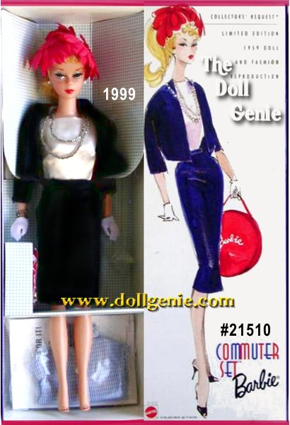 Collectors Request Barbie doll wearing the Commuter Set is the second doll in the Collectors Request Collection, developed specifically for collectors worldwide. This Limited Edition reproduces the original Barbie doll complete with ponytail and tightly curled bangs, red fingernails, and original face paint featuring red lips, blue eyeshadow and white irises. She wears a reproduction of the Commuter Set (#916), a two-piece suit with side-zipper, snap-closure skirt and a satiny sleeveless bodysuit underneath. Her accessories include short white gloves, open-toe mules, red petal hat, a double-strand silvery necklace with matching bracelet, an extra body blouse and a hatbox with nostalgic Barbie logo.?