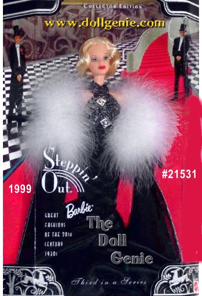 Steppin Out Barbie doll, third in a series of dolls highlighting fashions through the decades, recalls the glamorous look from the 1930s. With her cherry-red lips, pale skin and platinum hair, Barbie doll epitomizes that glamour in a striking black and silvery mermaid-style gown with art deco pins on the bodice, true to the style of that time. A flowing black chiffon rnand white marabou stole, long black evening gloves, and silver rhinestone jewelry provide the finishing touches to her nostalgic look.
