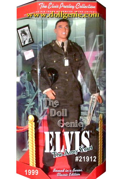 Collector Edition - If you love a man in uniform, you will surely want this authentic re-creation of Elvis in uniform. The King of Rock n Roll proudly wears his olive green army dress uniform with insignias, medal, hat, and ID tags. His new G.I. haircut completes the proud, clean-cut look befitting an American soldier. Dont wait too long to make your move, as accessories include a photo and letter from Priscilla Beaulieu!