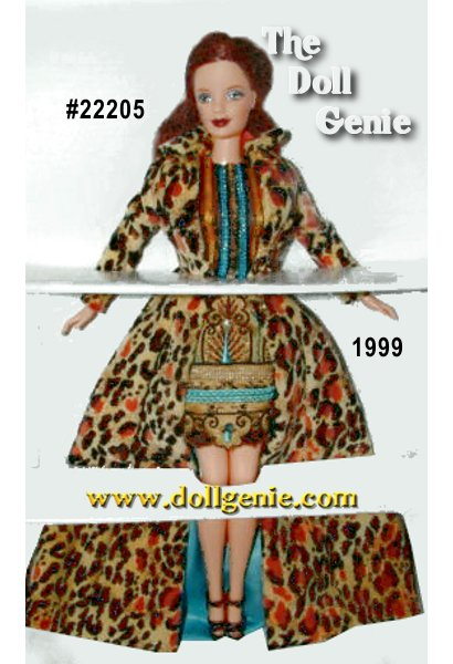 Barbie goes totally hip in her very first Todd Oldham original. This bold contemporary outfit is the epitome of Todd Oldhams fresh fashion perspective -- a perspective thats made him one of todays hottest young designers. Todd Oldham gives rnBarbie a full-length leopard-print coat with an aqua satin lining and pairs it with a golden satin hip-hugger mini skirt with turquoise and brown embroidery. Its uniquely adorable with a sheer black t-shirt with coordinating decorative stripes. A barrette with three crystals in Barbie dolls long loose auburn hair adds the final glamorous touch.?